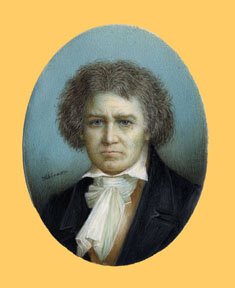 Miniature portrait of Beethoven by Schreier, oil on ivory, ca. 1830; Gift of the American Beethoven Society, 1999