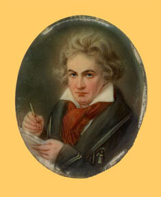 Miniature portrait of Beethoven based on the authentic portrait of 1819-1820 by Josef Karl Stieler, oil on ivory, date unknown; Gift of the American Beethoven Society