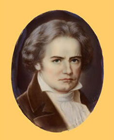 Miniature portrait of Beethoven, oil on ivory, artist and date unknown; Gift of the American Beethoven Society