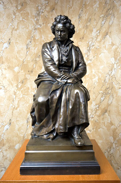 Bronze maquette of the Beethoven monument in Vienna by Kaspar Clemens Zumbusch (1830-1915), signed and dated 1877 with Kunst Erzgiesserei Foundry mark; Gift of Tressie Campen, Ira Brilliant, and the American Beethoven Society, 2004