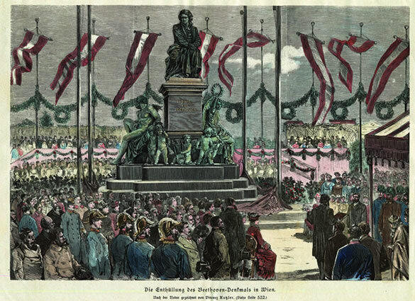 Hand-colored wood engraving of  Die Enthüllung des Beethoven-Denkmals in Wien (The Unveiling of the Beethoven Monument in Vienna) by Vincenz Katzler, 1880; Gift of the American Beethoven Society, 2010