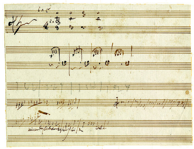 "Sketch for the song ""Nur wer die Sehnsucht kennt"" and Other Works, 1808 (originally in the collection of Countess Giulietta Guicciardi); Gift of the Hugh Stuart Center Trust and the American Beethoven Society, 1985"