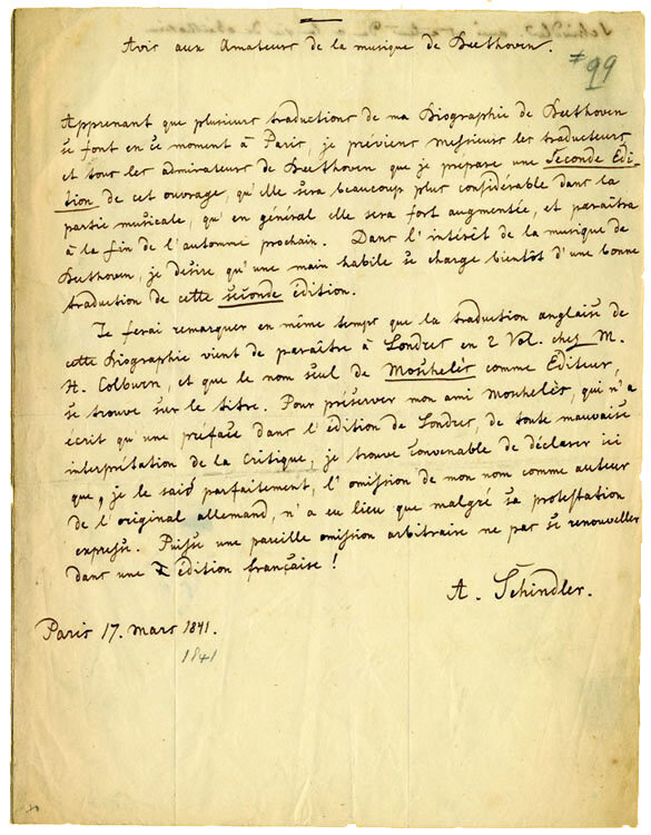 Autograph letter by Anton Schindler, Paris, March 17, 1841; Gift of the American Beethoven Society, 2004