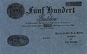 Austrian currency from 1800-1816, including notes for 1, 2, 5, 10, 100, and 500 Gulden; Gifts of the American Beethoven Society, 2005