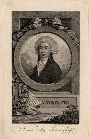 Portrait engraving of Adalbert Gyrowetz (1763-1850) by J.G. Mansfeld, published by Artaria in Vienna, 1798; Gift of the American Beethoven Society, 2004