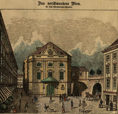 Hand colored woodcut engraving of the Kärtnerthortheater in Vienna, 1887 Woodcut engraving, hand colored, 1887; Gift of the American Beethoven Society, 2009