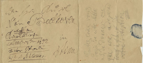 Manuscript Beethoven note written in French to his nephew Karl, probably from July 15, 1825; Gift of Ira Brilliant, 2002; In this note, Beethoven asks his nephew to deliver an enclosed letter to his publisher, A.M. Schlesinger.