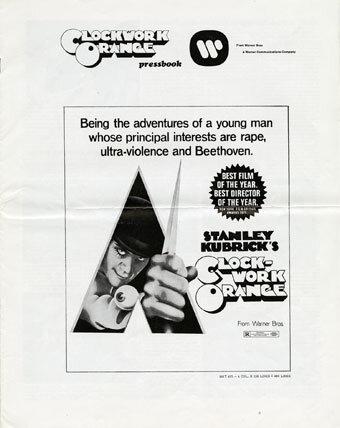 Clockwork Orange  pressbook; Warner Brothers, 1973