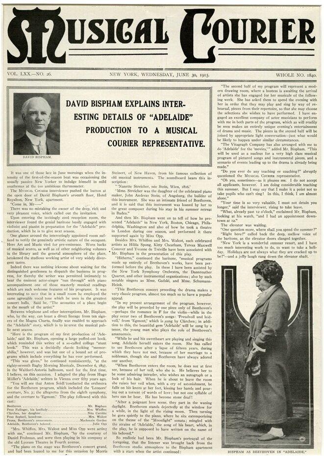 """David Bispham explains interesting details of 'Adelaïde' production to a Musical Courier representative,"" Musical Courier, New York, June 30, 1915."