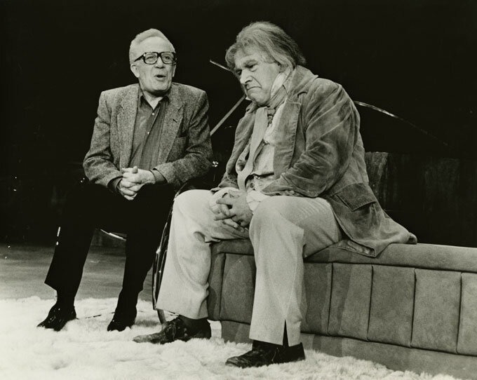 George Rose and Peter Ustinov in a scene from  Beethoven's Tenth  Publicity photograph for the performance at the Nederlander Theatre, New York, which opened on April 22, 1984.