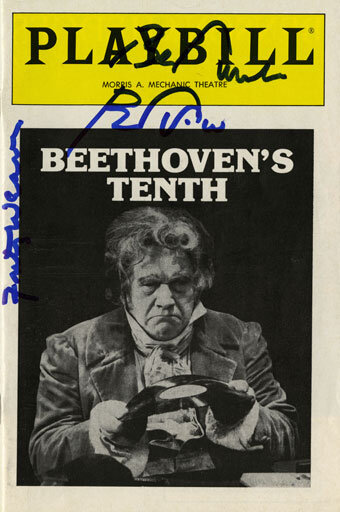 Playbill for performances at the Morris A. Mechanic Theatre, Baltimore, Maryland in 1983, autographed by Peter Ustinov and Fritz Weaver.