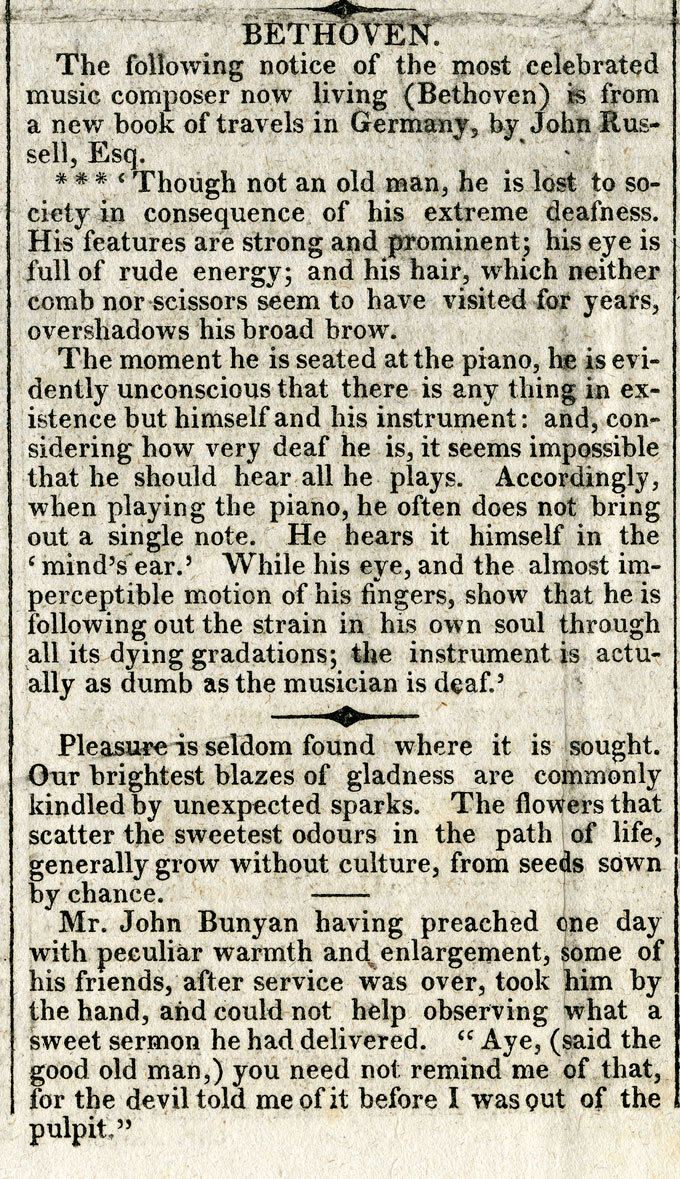 CLICK IMAGE TO ZOOM     Boston Recorder and Telegraph , Friday, February 10, 1826;  Notice about Beethoven taken from John Russell's  A Tour in Germany, and Some of the Southern Provinces of the Austrian Empire, in the Years 1820, 1821, 1822  (Boston: Wells & Lily, 1825)
