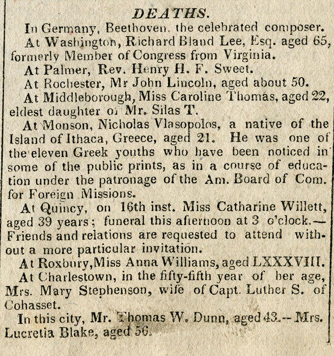 CLICK TO ZOOM     Boston Commercial Gazette , Monday, March 19, 1827;  A premature notice of Beethoven's death