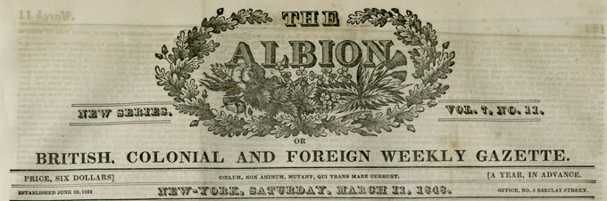 """The Albion: British, Colonial and Foreign Weekly Gazette,  March 11, 1848;  """"Memoir of Beethoven"""" by Miss Thomasina Ross"""