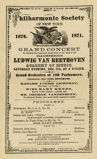 Concert program, Philharmonic Society of New York, Academy of Music, December 17, 1870