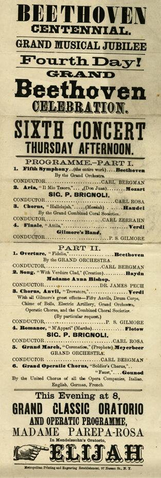 Broadside poster, Beethoven Centennial Grand Musical Jubilee, New York, June 16, 1870