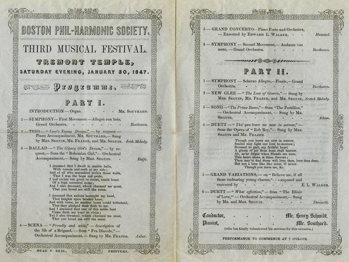 Concert program, Boston Phil-harmonic Society, Third Musical Festival, Tremont Temple, January 30, 1847