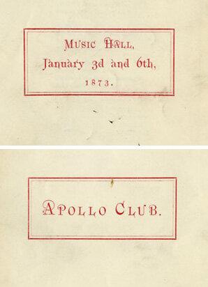 Concert program, Apollo Club, Boston Music Hall, January 3 and 6, 1873