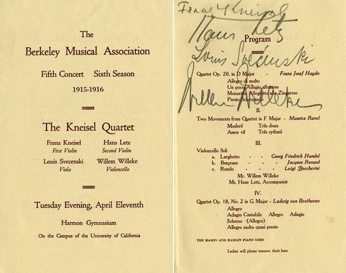 Autographed concert program by the Kneisel Quartet