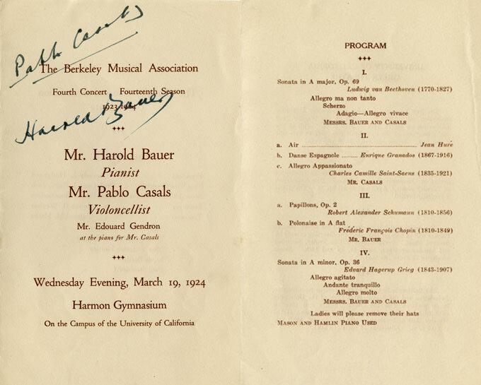 Autographed concert program by Pablo Casals and Harold Bauer
