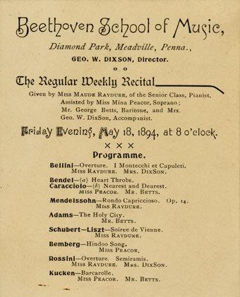 Recital program card, Beethoven School of Music, Meadville, Pennsylvania, May 18, 1894