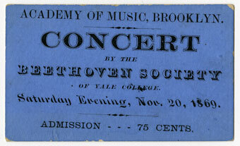 Concert ticket, The Beethoven Society of Yale College
