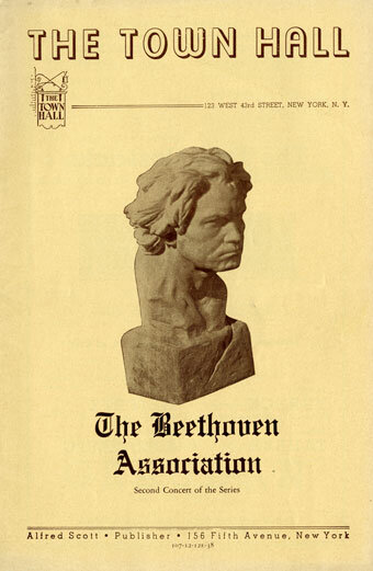 Concert program, The Beethoven Association, Town Hall, New York, New York, Town, December 12, 1938