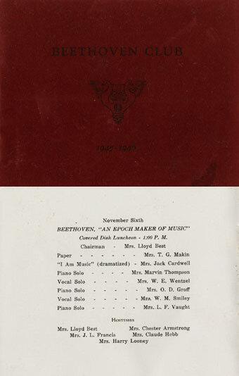 Program booklets, Beethoven Club, Hanover, Pennsylvania