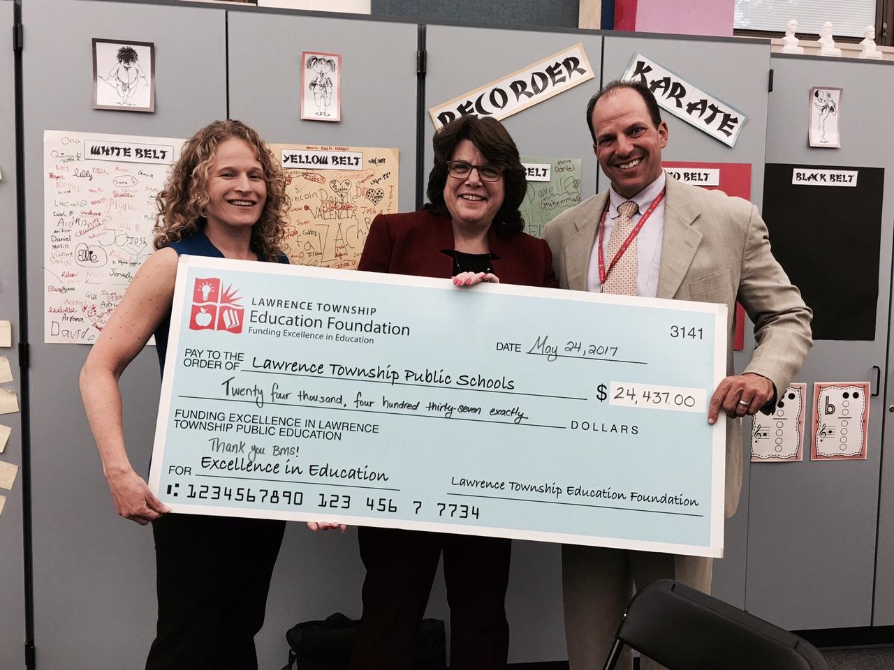 From left to Right: Karen Faiman, LTEF Executive Director; Carol Katz Connelly, LTEF Past President; Andrew Zuckerman, Assistant Superintendent for Curriculum & Instruction