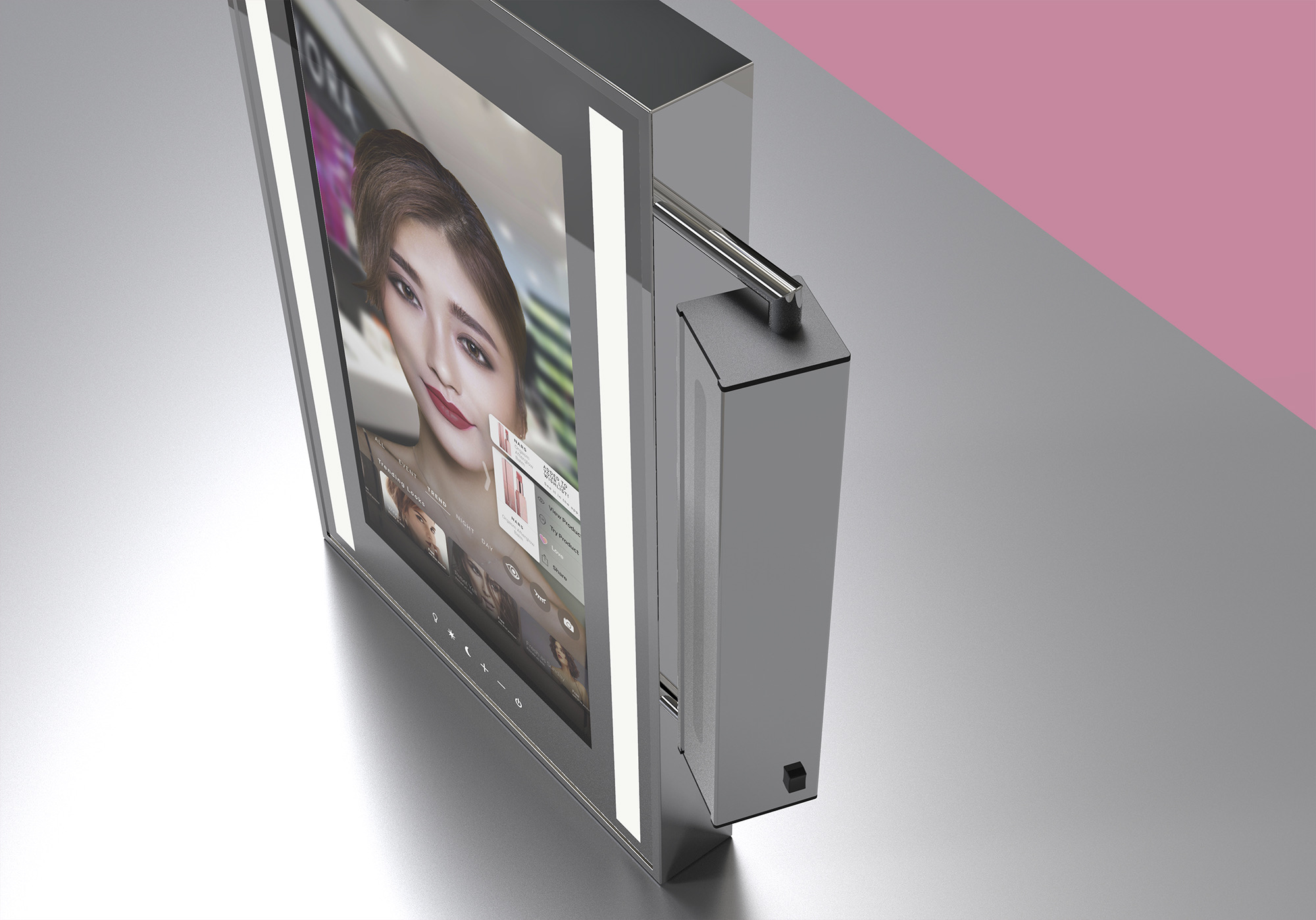 The cosmetic mirror has multiple camera placement options, including this side-mounted, vertically-adjustable option.