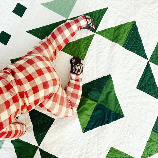 I'm thinking of moving the release date for the #evergreenquilt pattern up a bit, because I'm considering hosting my first quilt a long in time for the holidays! My idea is that it could be a great way to fit in a handmade holiday gift for someone (it would wrap up by Christmas), and a quilt along would give you an easy, doable schedule for this busy time of year!  I have two questions for you:  1. Would you be interested in participating in this quilt a long?  2. How do you feel about how unintentionally festive this picture is? 😂 🎄