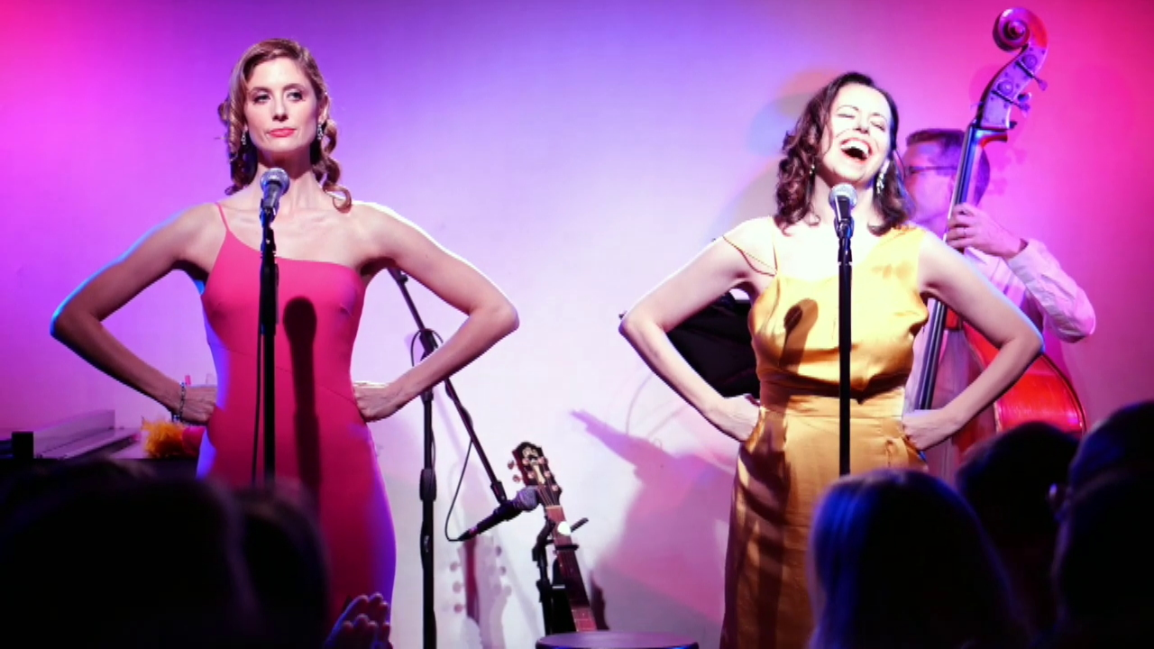 """On stage at Don't Tell Mama with """"Not Helpful: pretty songs and feminine harms"""""""