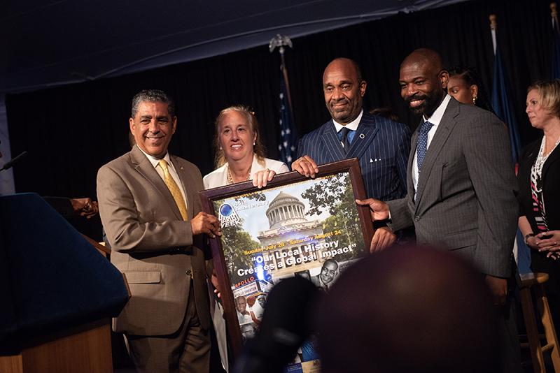 Left to right: Congress Member Adriano Espaillat, Gale Brewer (Manhattan Borough President), Michael Garner, and Ekundayo Bandele (City of Memphis Representative).