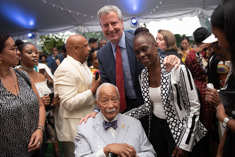 Mayor Bill de Blasio and First Lady Chirlane McCray with Former Mayor David Dinkins.