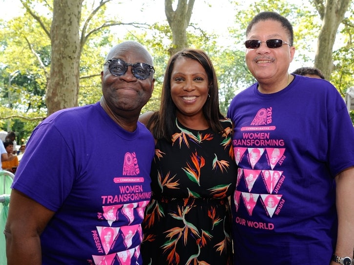 Attorney General Of New York Letitia James (center) with HARLEM WEEK executive producer Voza Rivers (left) and Geoffrey Easton of the NY-NAACP. (Nadezda Tavodova Tezgor)