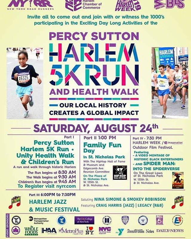 Today, Tonight & Tomorrow wind down HARLEM WEEK and kick off The Harlem Jazz & Music Festival! Join us today at 135th Street & St. Nicholas Avenue for the Percy Sutton Harlem 5k Run and Family Walk, Then Family Fun Day, then The launch of the Harlem Jazz & Music Festival and Kids Night Out. Tomorrow at Convent Avenue Baptist Church The Harlem Jazz & Music Festival continues with Jazz Vespers.