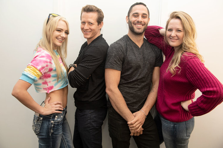 Jacky St. James (right) with adult actor Kenna James, writer Sean Alff, and adult actor Damon Dice