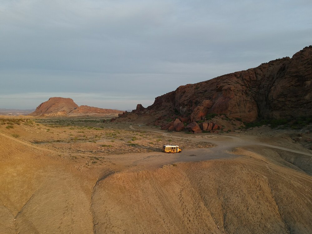 Middle of the Texas desert in Magpie the Bus