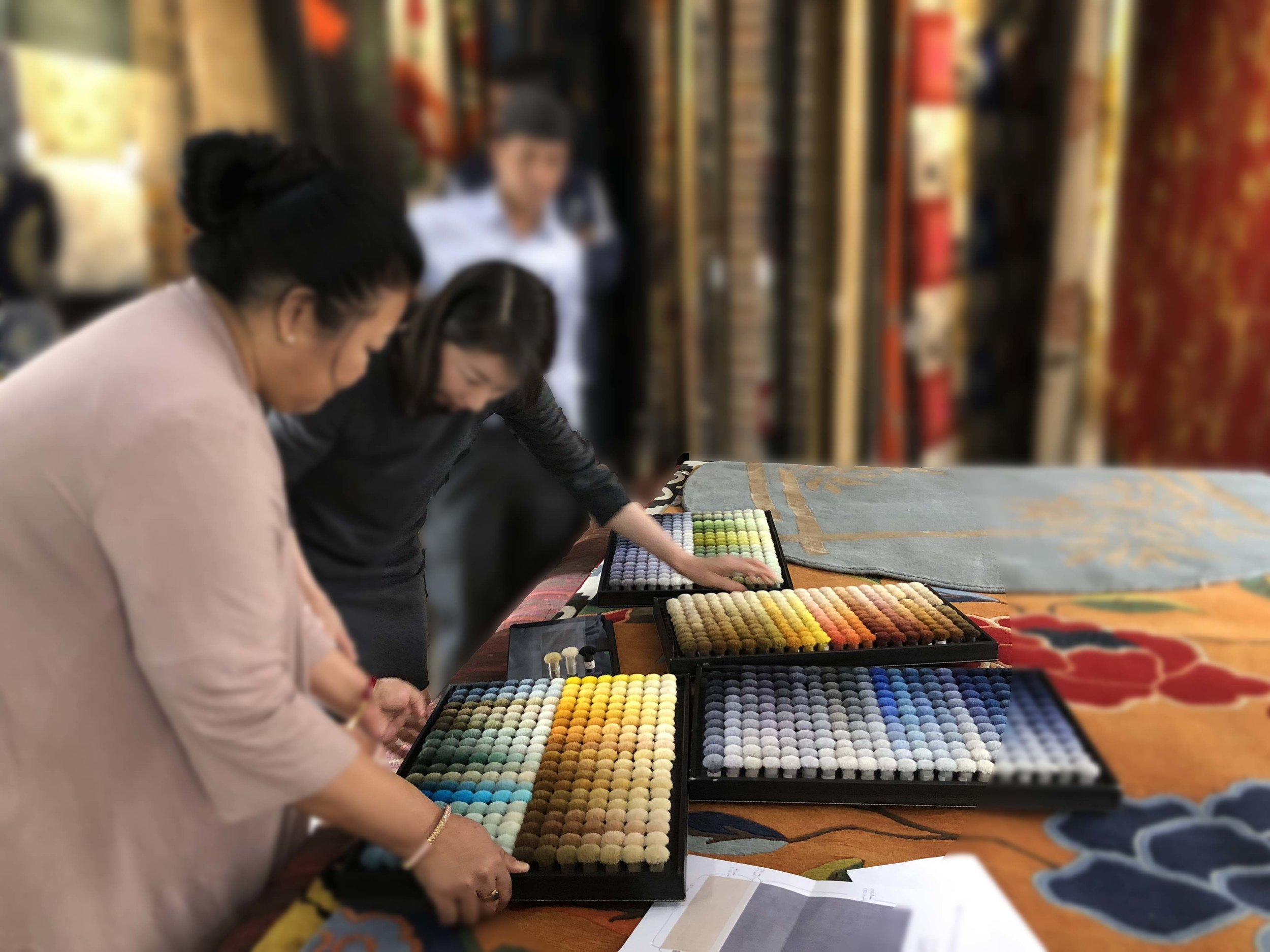 Exploring colors for Bespoke Rug by our VIP client.