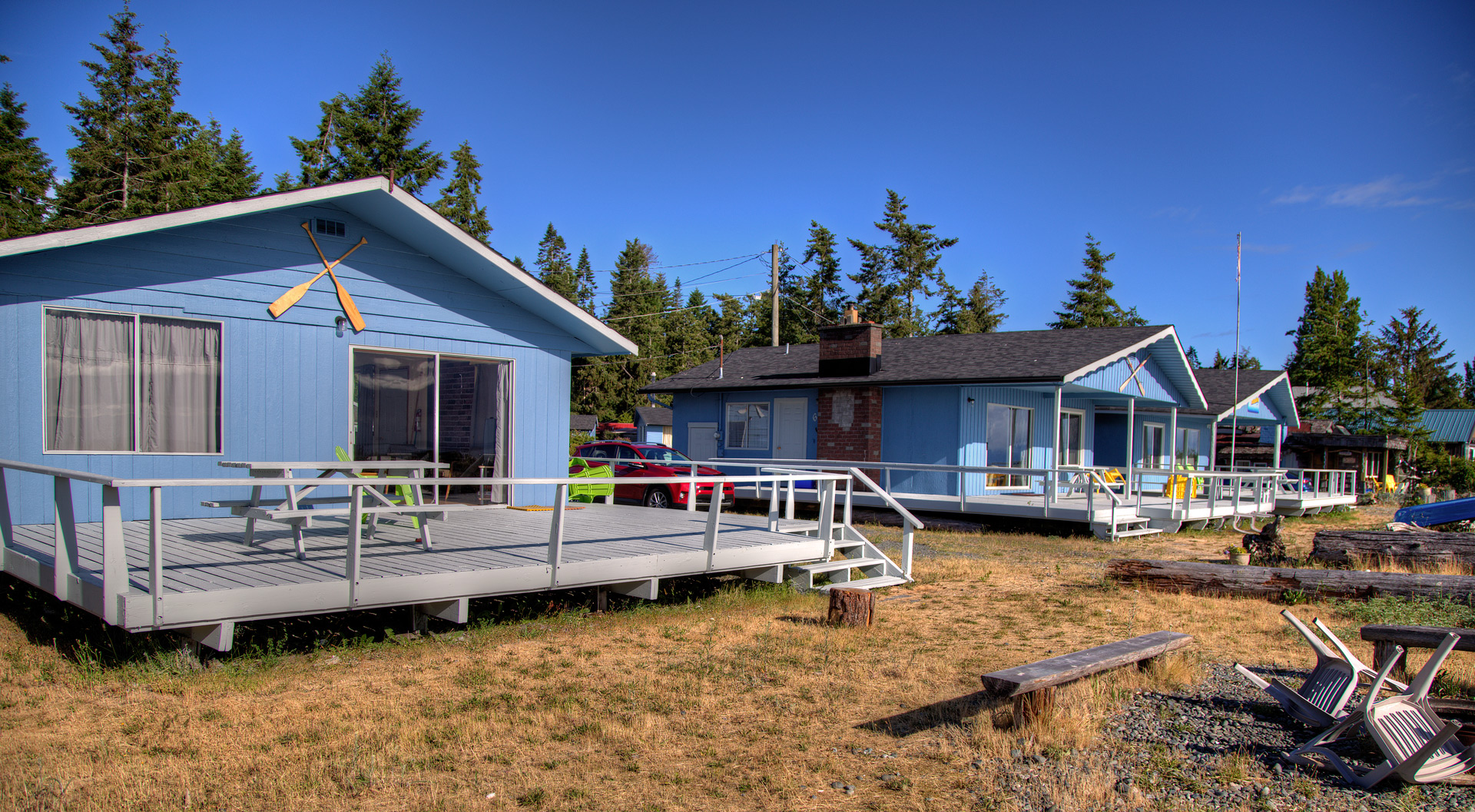 Amenities - Fully stocked kitchens, most with fireplaces and large sundecks, 4 cabins boast private outdoor fire pits. We are pet friendly from Sept through June and family friendly year round with many activities in close vicinity as well as our beautiful safe sandy beach and green spaces to play on site.