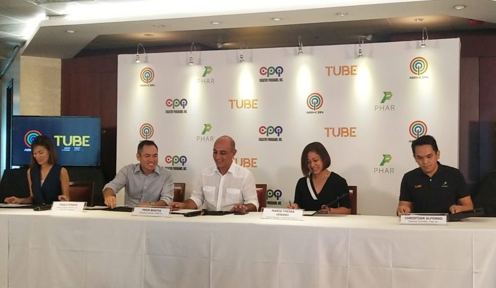 (Left to right) Cat Lopez, ABS-CBN Corp Head of Finance Operations, Paolo Pineda, ABS-CBN Corp Head, Prem Bhatia, PHAR Inc Managing Director, Maria Thessa Verano, Phar Inc General Manager (commercial), Christian Alfonso, Phar Inc Financial Controller. Aug. 15, 2019.