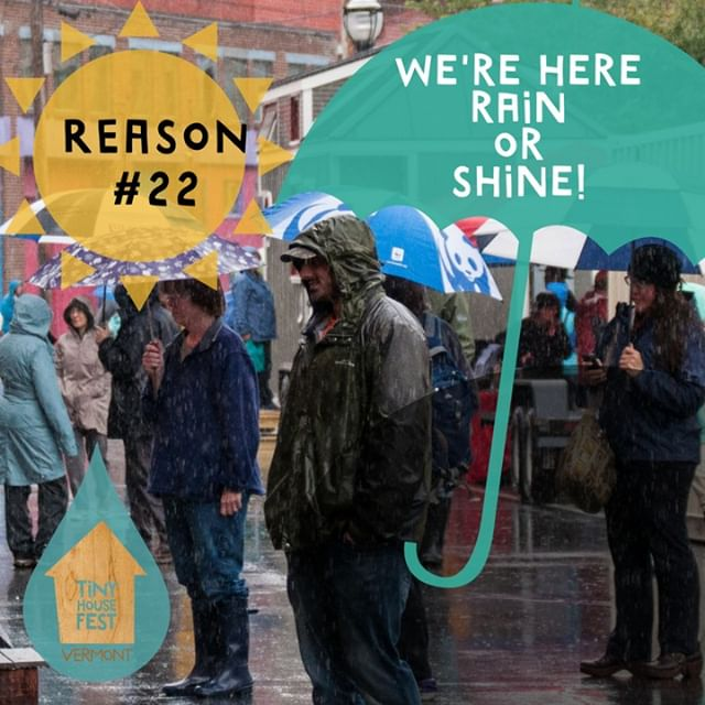Today's the day! Tiny House Fest Vermont 2018! We've been watching the weather all week and hoping for good weather. Good news is, we're going to be here rain or shine :) We can't wait to spend the day with you! #rainraingoaway #downtownbrattleboro #brattleboro #vermont #tinyhousefestvermont #vt #tinyhousevt #tinyhousefest #tinyhousefestival #tinyhouseonwheels #enoughness