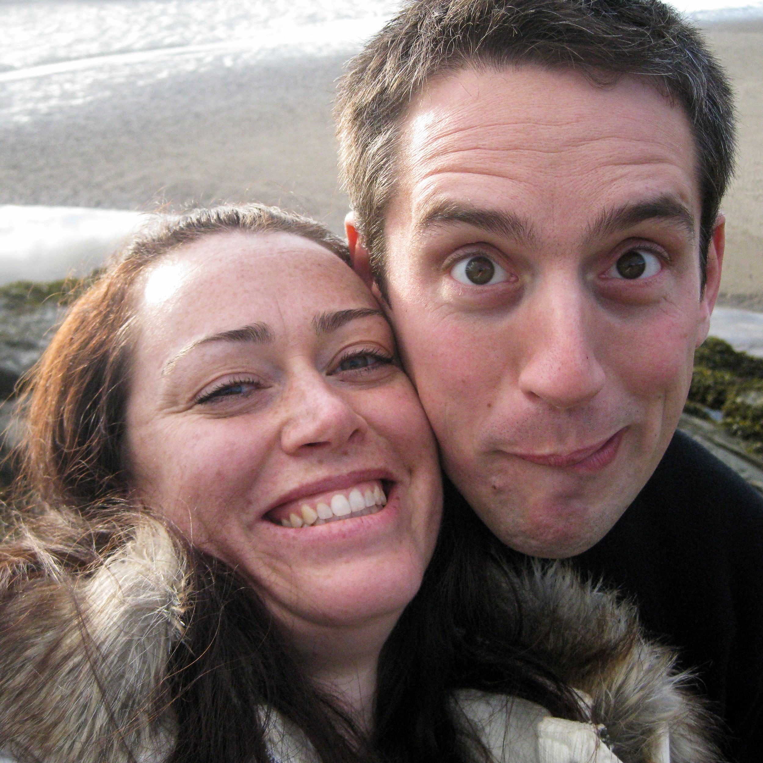 woman and man making faces at the camera