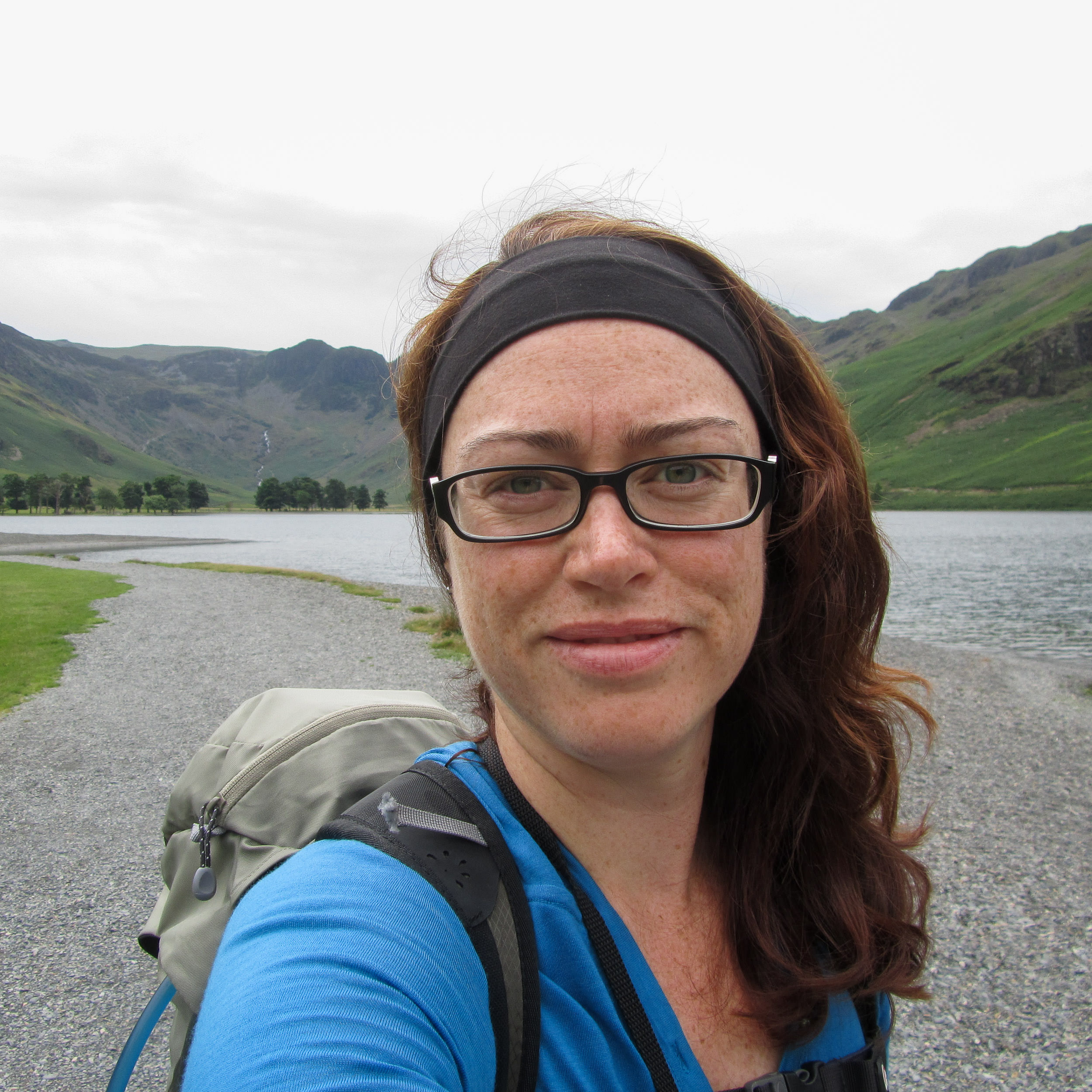 Woman taking a selfie while hiking sole in the Lake District