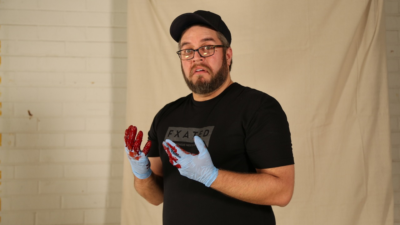 Gloves are a 'must have,' when you're working with fake blood.
