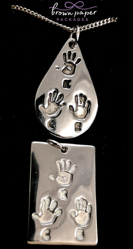 BPP silver hand print tear drop and rect. pendants.jpg