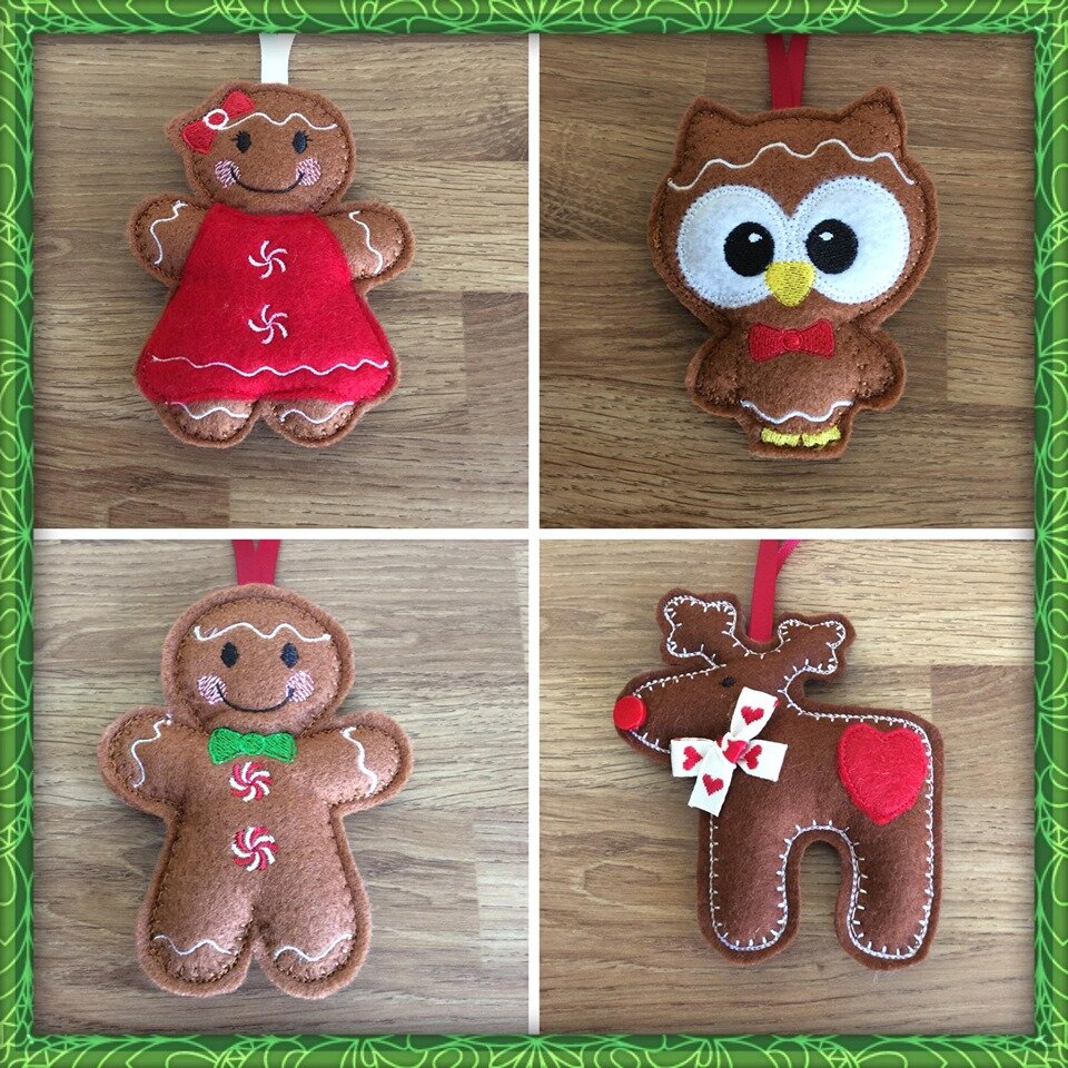 4 ginger bread style owl Ginger bread man and women reindeer.jpg