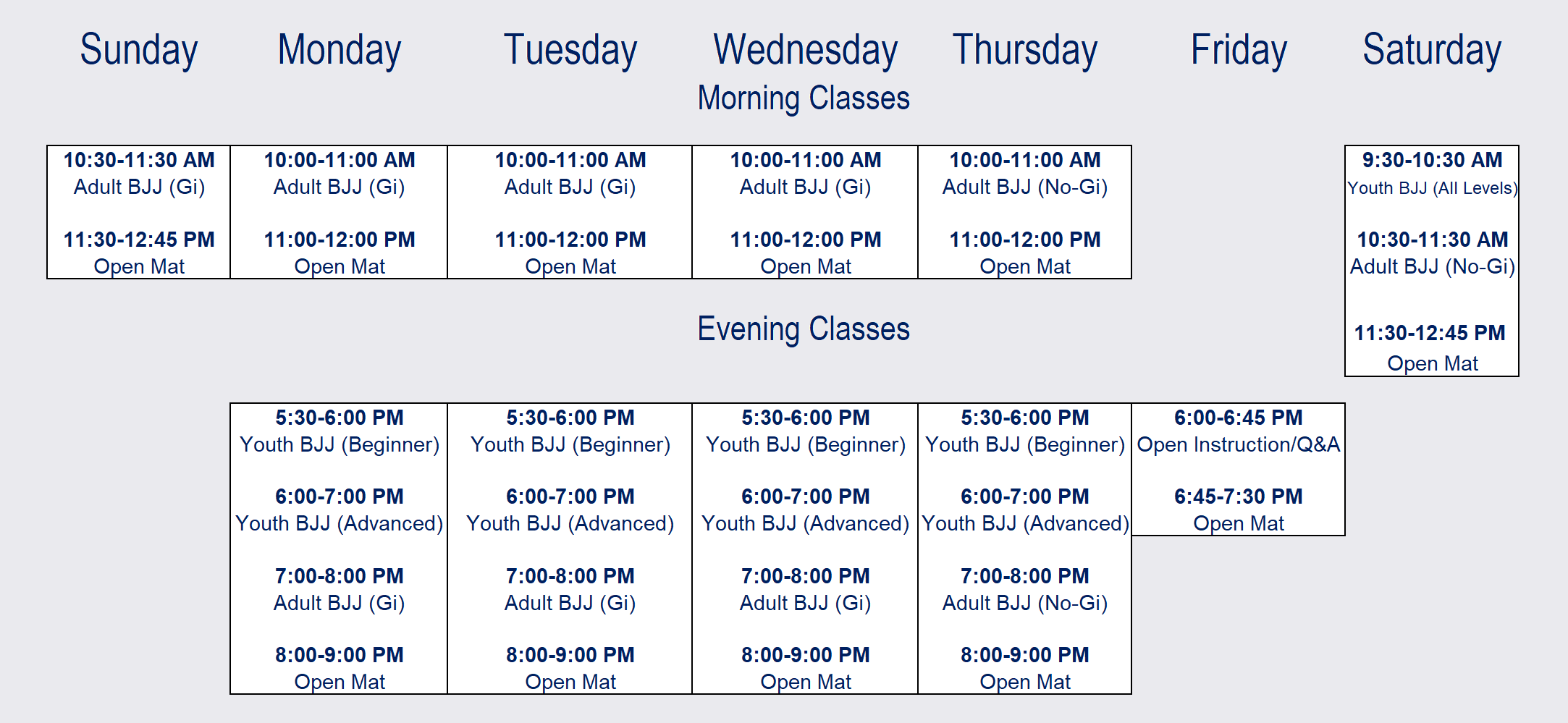 With classes offered all seven days of the week, we know you'll be able to find time to train with us! Take advantage of our early and late sessions, or if your week is too busy, stop in on the weekends! We are excited to have you in for your first day. All classes are beginner friendly and designed for everyone, even if it's their first day, to succeed and have fun!