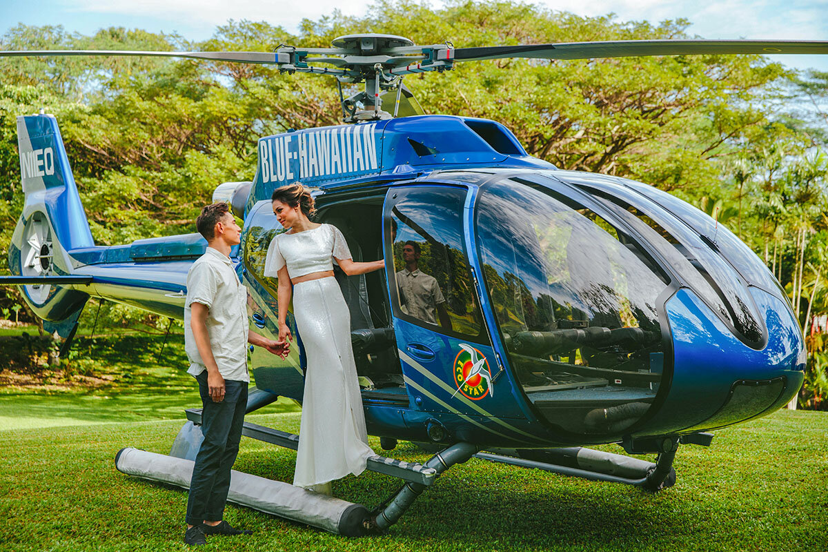 Maui helicopter wedding or elopement with Bliss Beach Wedding and Blue Hawaiian Helicopter Tours