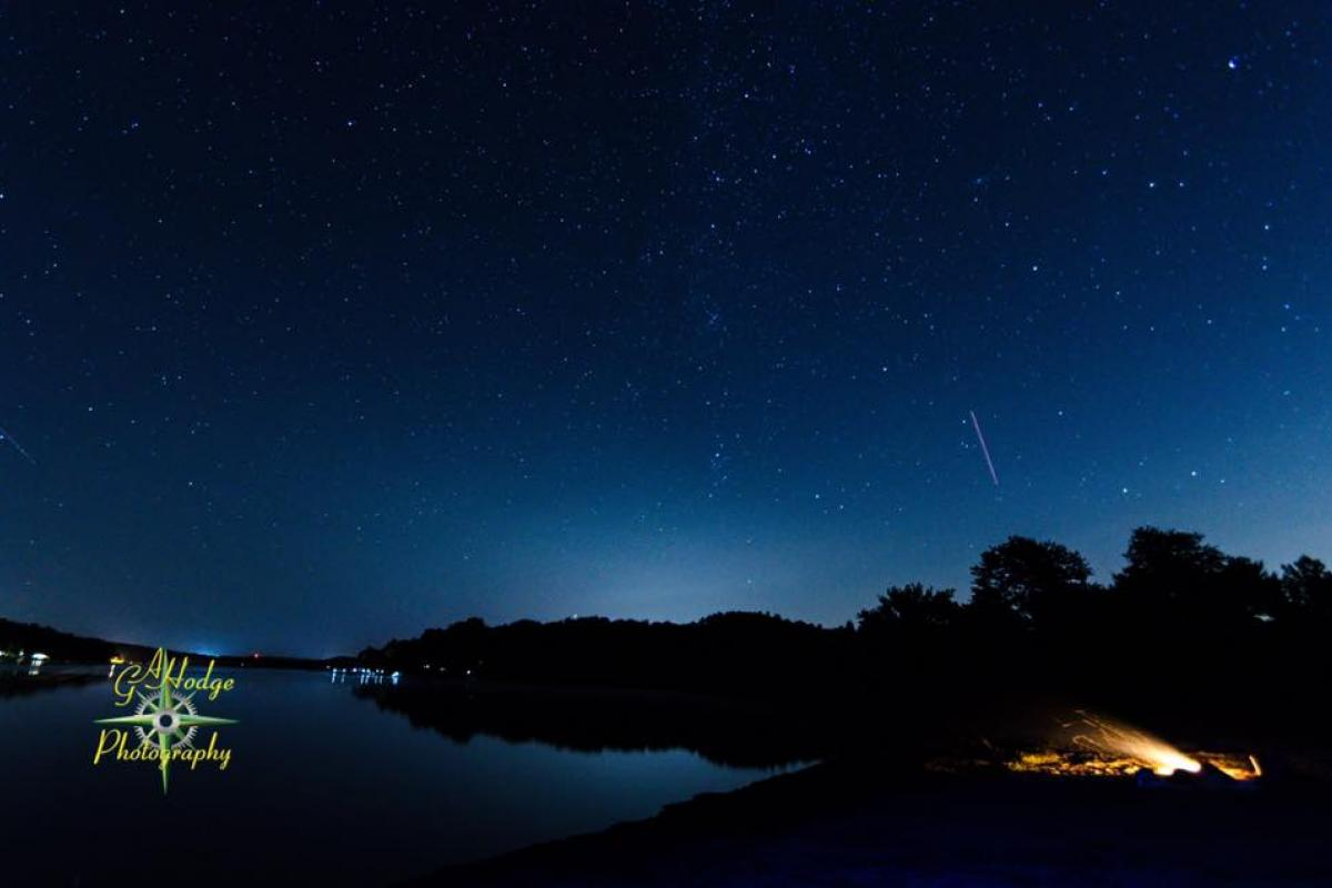 Shooting star over Bantam Lake - view from Morris Town Beach. Photo credit: Gary Hodge